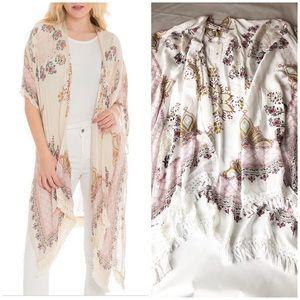 New Woven Heart Floral Boho Fringe Kimono Duster